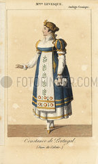 French comic actress Mlle. Marie Jacqueline Levesque (1774-1825) as Constance du Portugal in Jean de Calais at the Ambigu Comique.