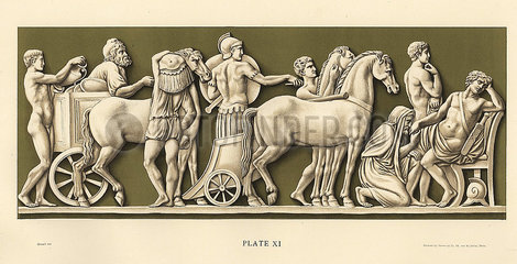Plaque showing King Priam of Troy begging for the body of his son Hector.