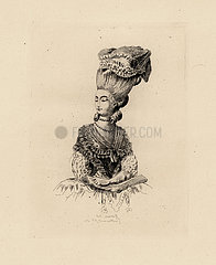 Fashionable pouf bonnet from the era of Marie Antoinette.