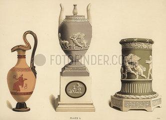 Etruscan vase  vase on pedestal and pillar-form vase.