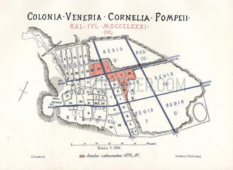 Map of the excavations of Pompeii  1874-1881.