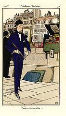 Fashionable man walking past bouquinistes on the Seine  1913.