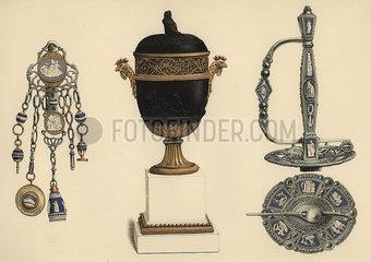 Wedgwood chatelaine  vase and sword.