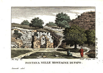 A fountain among the mountains of Paphos  Cyprus.