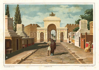View of the Street of Tombs outside the Herculaneum Gate  Pompeii.