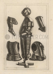 Suit of bright armour and pouldron  garde-brass and vambrace.