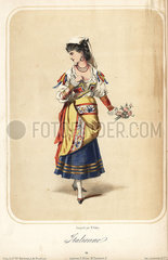 Woman in costume as an Italian peasant for a masquerade ball.