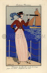 Woman in yachting outfit holding a telescope.