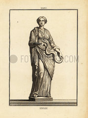 Hygieia  Greek and Roman goddess of health and cleanliness .