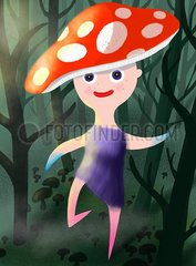 Kleines Elfenmaedchen mit Fliegenpilzhut im dunklen Wald voller Pilze Kleines Elfenmaedchen mit Fliegenpilzhut im dunklen Wald voller Pilze