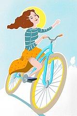 Junge Frau auf dem Fahrrad bei Sonnenschein und blauem Himmel Junge Frau auf dem Fahrrad bei Sonnenschein und blauem Himmel