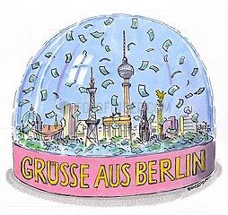 Schneekugel aus Berlin mit Geldscheinen Schneekugel aus Berlin mit Geldscheinen