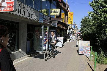 Radfahrer in Ulan-Bator
