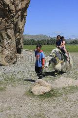Taikhaar chuluu Felsen in der Mongolei Kamel in der Nationalpark Altai Tawan Bogd in der Mongolei