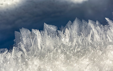 Extreme close-up of unique frost patterns of snow; Kananaskis Country  Alberta  Canada