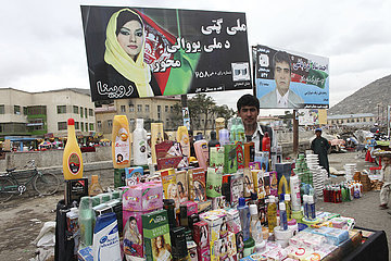 posters with members of parliament- during elections in afghanistan