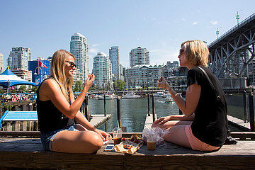girls having lunch on granville island  vancouver