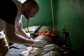 Doctor of MSF is working in the hospital in CAR