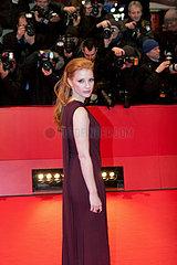 Die britische Schauspielerin Jessica Chastain auf dem Roten Teppich der Berlinale 2011