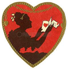 Poesiebild Herz  Frau mit Liebesbrief  1910