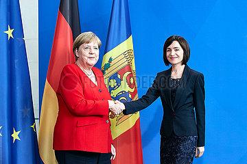 Berlin  Deutschland - Bundeskanzlerin Angela Merkel und Maia Sandu  Ministerpraesidentin der Republik Moldau.