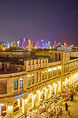 Katar Skyline  Nachtaufnahme