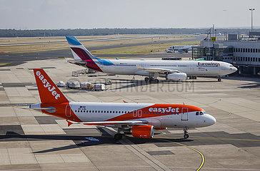 easyJet und Eurowings Flugzeuge  Flughafen Duesseldorf International  DUS  Nordrhein-Westfalen  Deutschland