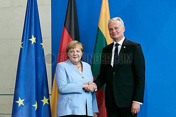 Berlin  Deutschland - Bundeskanzlerin Angela Merkel und Gitanas Nauseda  Praesident Litauens.