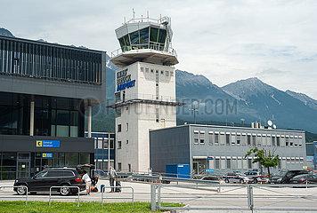 Innsbruck  Tirol  Oesterreich  Tower und Terminal am Innsbruck Airport