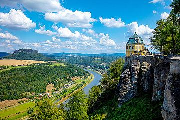 Festung Koenigstein. Blick ins Elbtal