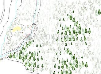 Landkarte mit Wald
