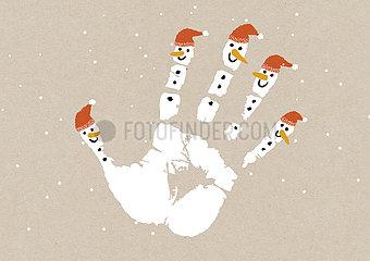 Weihnachtskarte - Gib mir Fünf