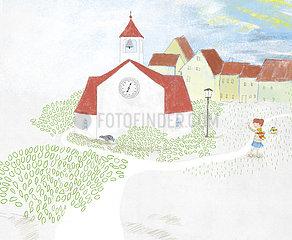 Kind auf Dorfplatz