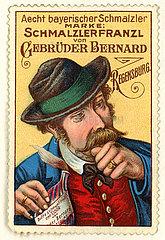 Schmalzlerfranzl Schnupftabak  Werbemarke  1913