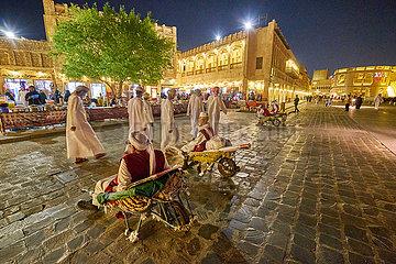 Altstadt Souq Waqif Imbiss mit Koch