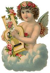 Engelchen auf Wolke spielt Lyra  1890