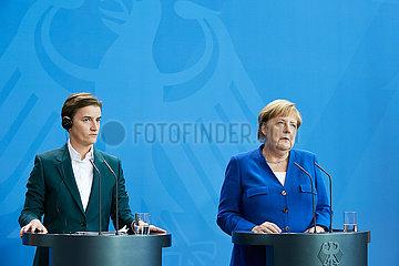 Berlin  Deutschland - Bundeskanzlerin Angela Merkelund Ana Brnabic  Ministerpraesidentin der Republik Serbien