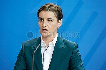 Berlin  Deutschland - Ana Brnabic  Ministerpraesidentin der Republik Serbien.