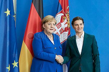 Berlin  Deutschland - Bundeskanzlerin Angela Merkel und Ana Brnabic  Ministerpraesidentin der Republik Serbien.