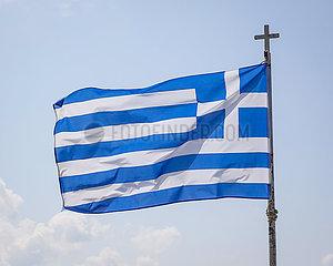 Griechische Fahne  Kyparissia  Messenien  Peloponnes  Griechenland