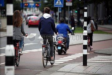 Fahrradfahrer und Rollerfahrer