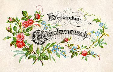 Herzlichen Glueckwunsch  Poesiebild  1890