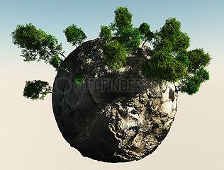 Kleine Planeten mit Bäumen