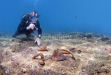 Diver swimming over ancient Roman ruins. Underwater ancient Roman ruins. Baia  Campi Flegrei (Phlegraean Fields)  Campania