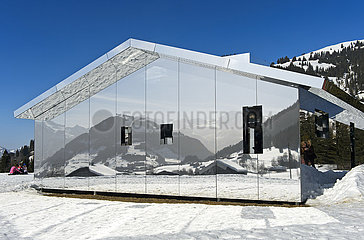 Mirror house Mirage Gstaad by Doug Aitken  Art Exhibition Elevation 1049: Frequencies  Gstaad  Switzerland