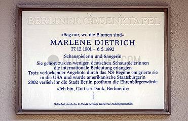 Dietrich  Marlene - Berliner Gedenktafel