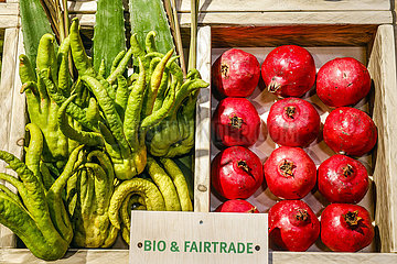 Bio-Fairtrade-Gemuese im Bio-Markt  ANUGA Lebensmittelmesse  Koeln  Nordrhein-Westfahlen  Deutschland