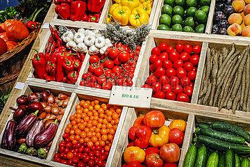 Bio-Gemuese im Bio-Markt  ANUGA Lebensmittelmesse  Koeln  Nordrhein-Westfahlen  Deutschland