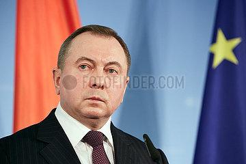Berlin  Deutschland - Wladimir Makej  Aussenminister von Weissrussland bei einer Pressekonferenz.
