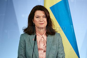 Berlin  Deutschland - Ann Linde  die Aussenministerin von Schweden.